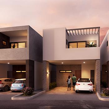 arquitectura residencial casa frente fraccionamiento